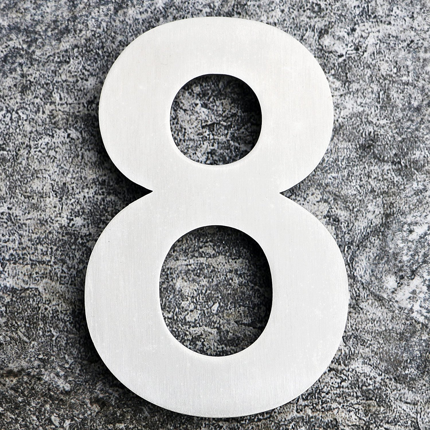 QT Modern House Number - EXTRA LARGE 10 Inch - Brushed Stainless Steel (Number 8 Eight), Floating Appearance, Easy to install and made of solid 304