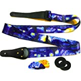 "Van Gogh ""Starry Night"" Guitar Strap Includes 2 Strap Locks & 2 Matching Picks. Adjustable Polyester Guitar Strap - Art Tributes Gift For Guitarist - Bass, Electric & Acoustic Guitar"