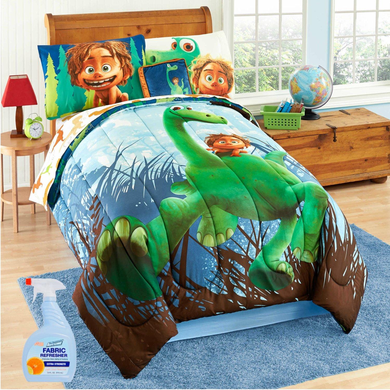 Disney Pixar ''The Good Dinosaur'' 6-Piece TWIN Size Reversible Comforter Set with Fabric Refresher