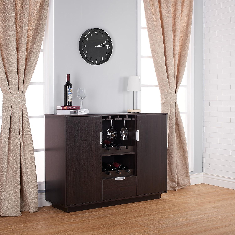 Amazon.com   Furniture Of America Mendocino Wine Cabinet Buffet, Espresso    Buffets U0026 Sideboards