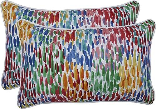 Pillow Perfect Outdoor Indoor Make It Rain Zinnia Rectangular Throw Pillow Set of 2 , Blue