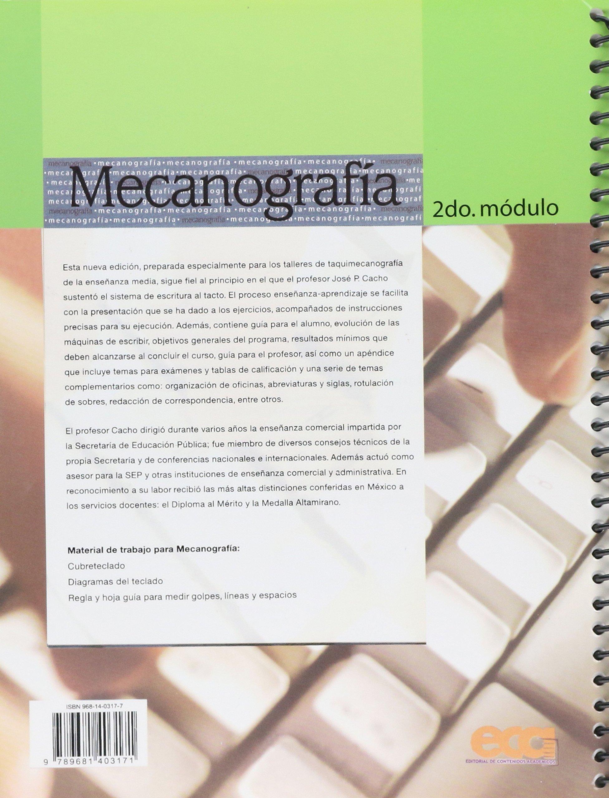 MECANOGRAFIA 2DO MODULO: GRACIA MA. CACHO ROMERO: 9789681403171: Amazon.com: Books