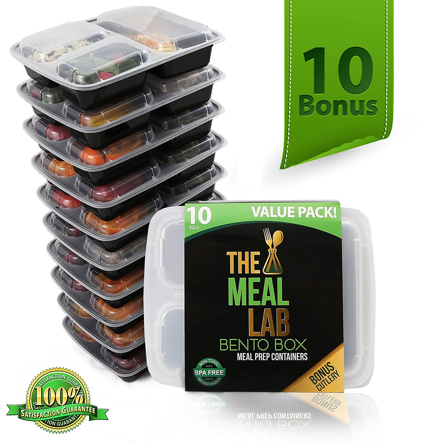 PREMIUM-PACK - Long Lasting 3-Compartment BPA FREE Stackable Meal Prep Food Storage Containers with Lids | Microwave & Dishwasher Safe Bento Lunch Box | Portion Control Plates + FREE Weight Loss Book