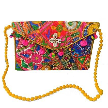 Bolso de mano patrones orientales India bordados algodón multicolor bolsa accesorio