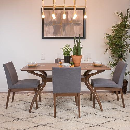 Katherine Dark Grey Fabric Natural Walnut Finish Curved Leg Rectangular 5 Piece Mid Century Modern Dining Set