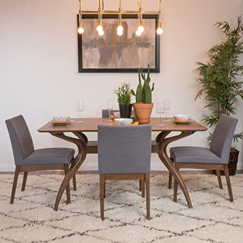 Katherine Dark Grey Fabric Natural Walnut Finish Curved Leg Rectangular 5 Piece Mid Century Modern Dining Set