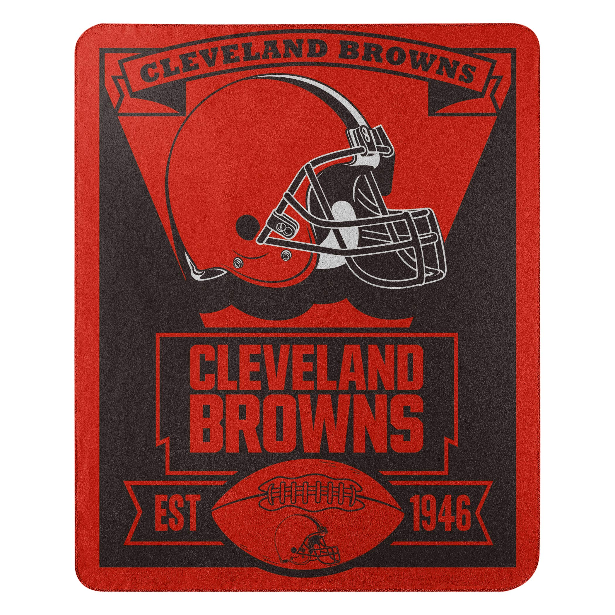 The Northwest Company Officially Licensed NFL Cleveland Browns Marque Printed Fleece Throw Blanket, 50'' x 60'', Multi Color by The Northwest Company