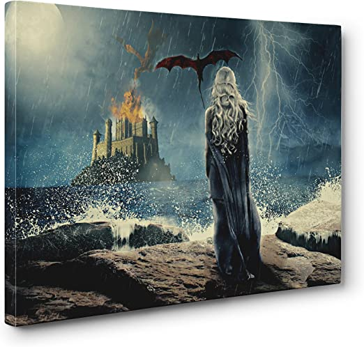 Game Of Thrones Daenerys Dragon Stretched Canvas ~ More Size