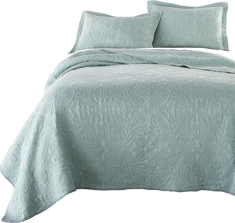 Melissa 3-Piece Seafoam Green Paisley Floral Soft-Washed 100/% Cotton Quilt Set