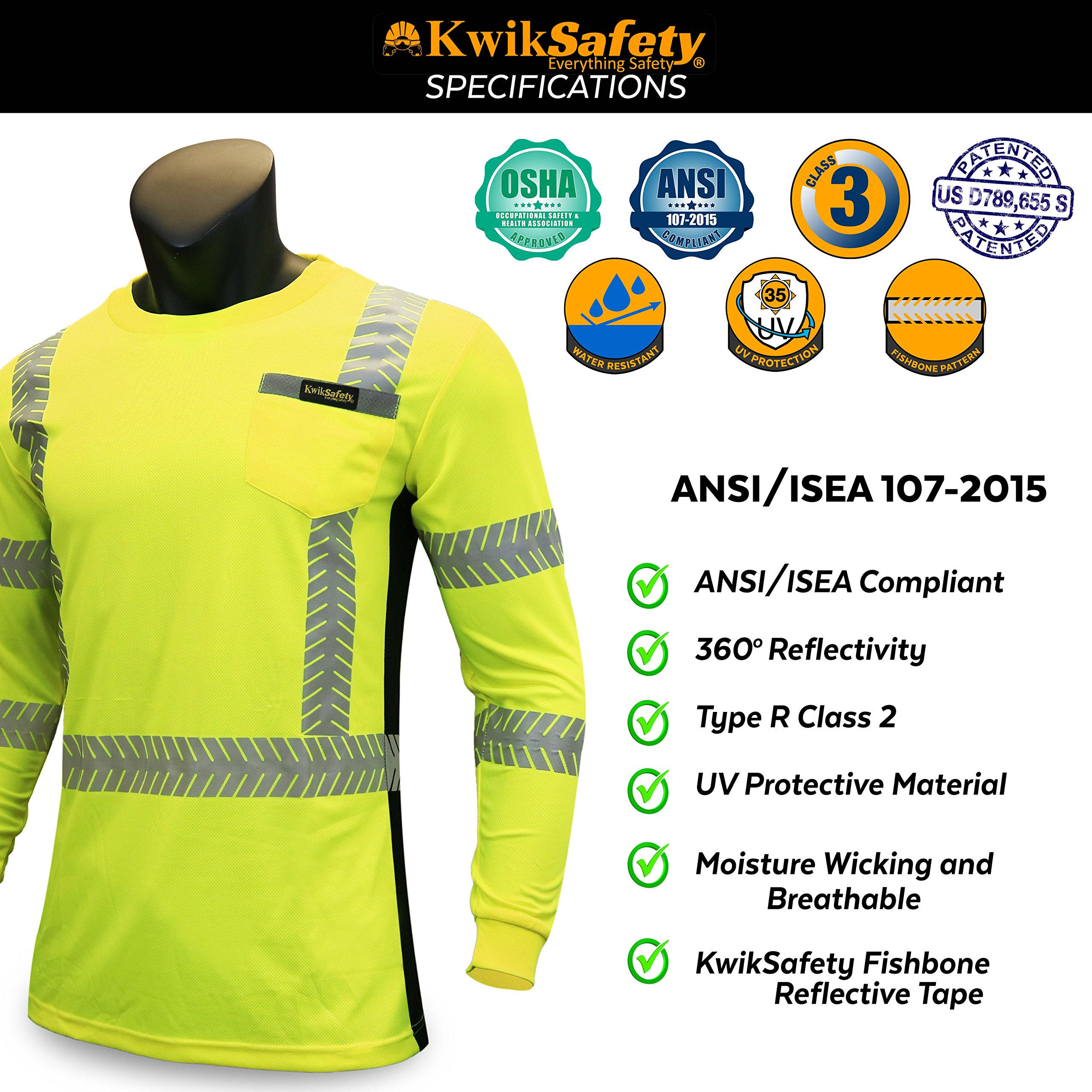 KwikSafety (Charlotte, NC) RENAISSANCE MAN (with POCKET) Class 3 ANSI High Visibility Safety Shirt Fishbone Reflective Tape Construction Security Hi Vis Clothing Men Long Sleeve Yellow Black XL by KwikSafety (Image #6)