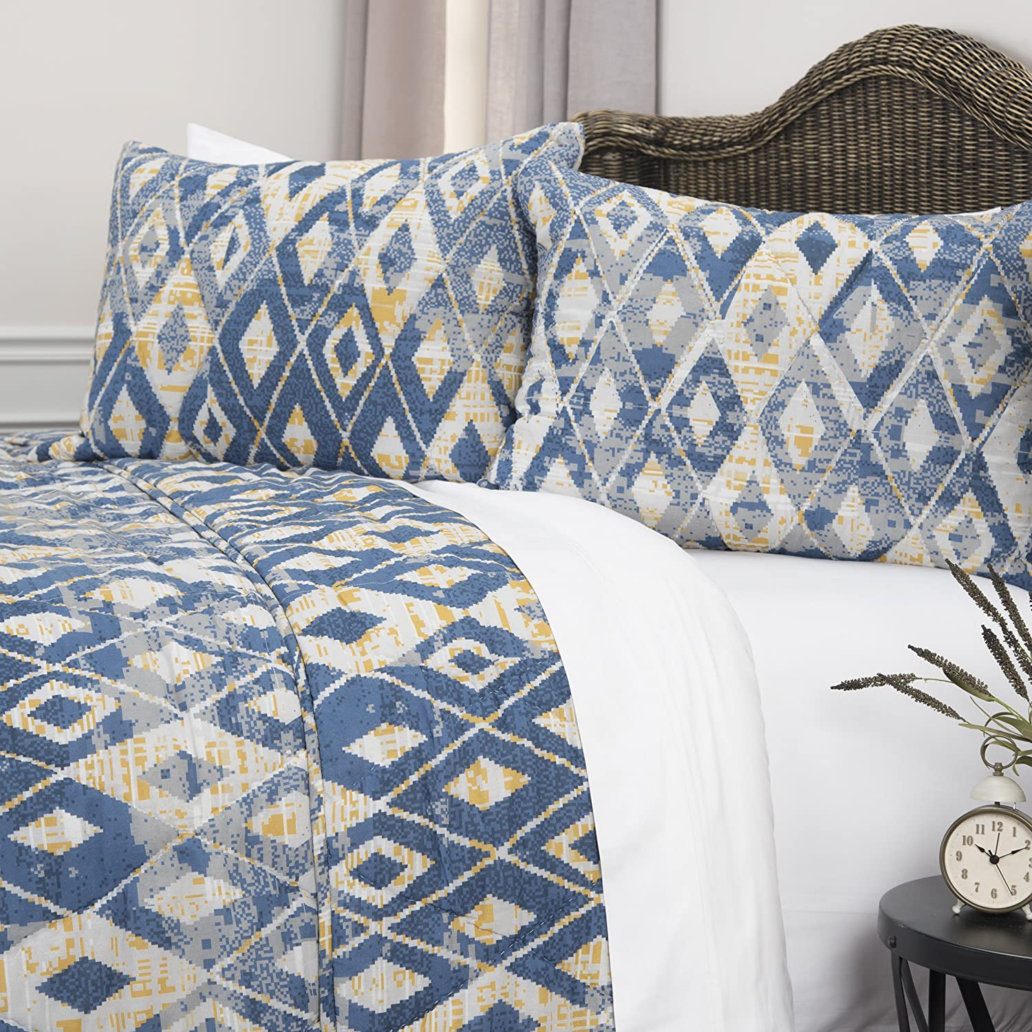 Rizzy Home Maddux Place Asher Geometric 2 Piece Quilt Set Twin X-Large Blue Rizzy Home Fashions QLTBQ4590BLYE6894