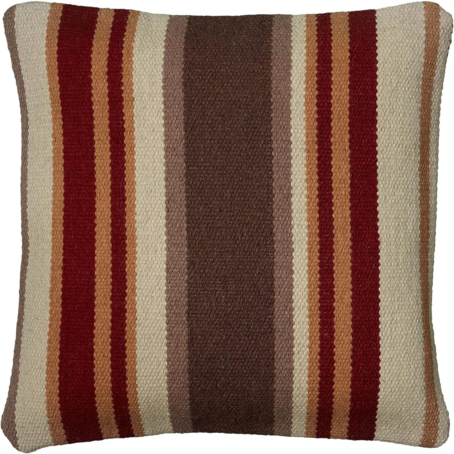 "Rizzy Home T05985 Decorative Pillow, 18""X18"", Brown/Orange/Neutral"