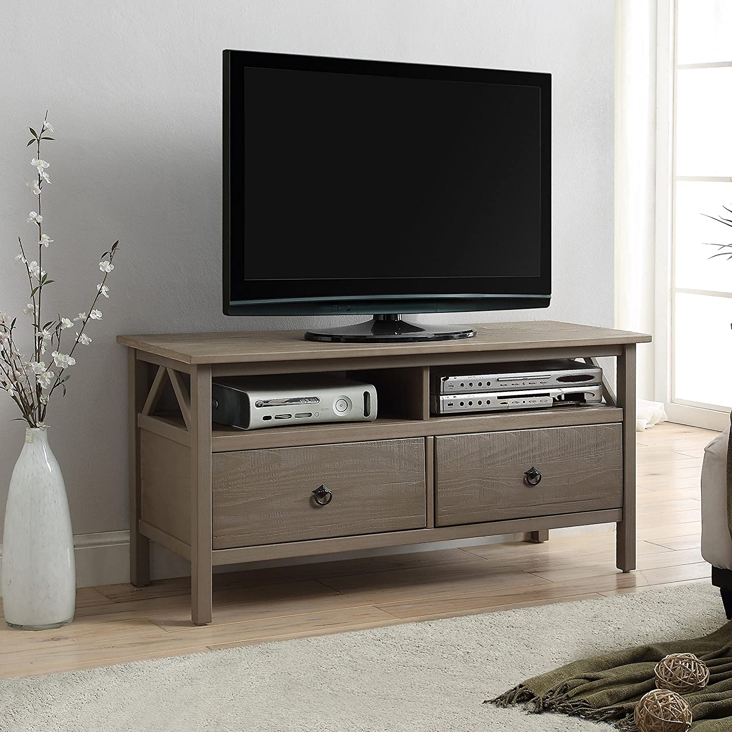 Tv Stand Designs Pdf : Amazon maloof rustic gray pine wood tv stand kitchen dining
