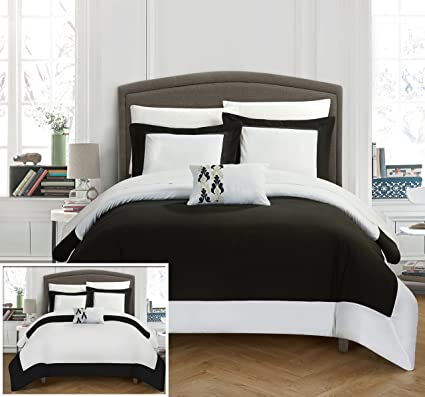 Amazon Chic Home 48 Piece Wynn MODERN TWO TONE REVERSIBLE HOTEL Awesome Black And White Modern Bedroom Decor Collection