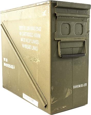 M548 AMMO Can Munición Puede Metal de excedente Militar Grande 20 mm 40 mm – Grado 2: Amazon.es: Deportes y aire libre