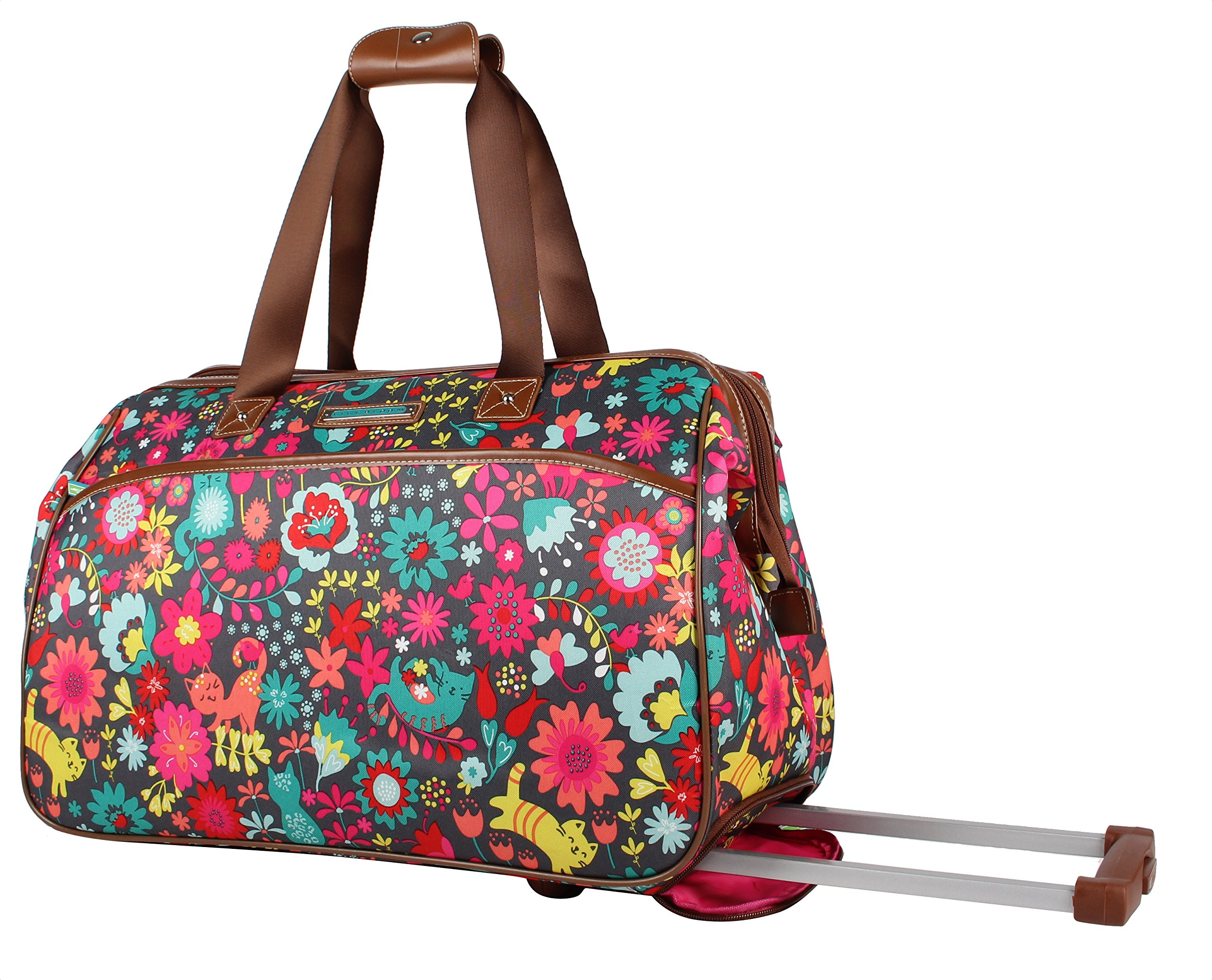 Lily Bloom Luggage Designer Pattern Suitcase Wheeled Duffel Carry On Bag (14in, Playful Garden)