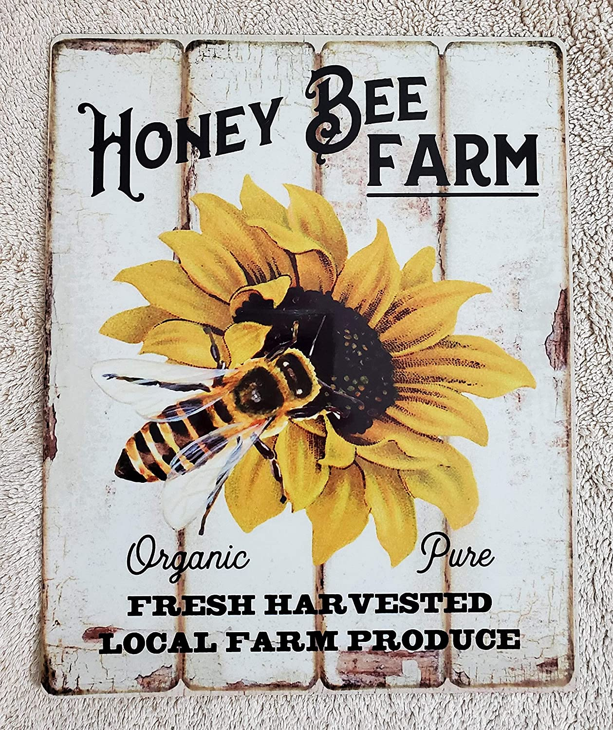 Bee Sunflower With Honey Bee Rustic Bee Farmhouse Style Wall Poster Wall Decor Poster Metal Tin Sign Iron Painting Home Family Lovers Gift Metal Signs Bedroom Retro Parlor Yard Wall Decor 8x12 Inch