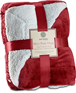 Genteele Sherpa Throw Blanket Super Soft Reversible Ultra Luxurious Plush Blanket (50 inches X 60 inches, Rich Burgundy Red)
