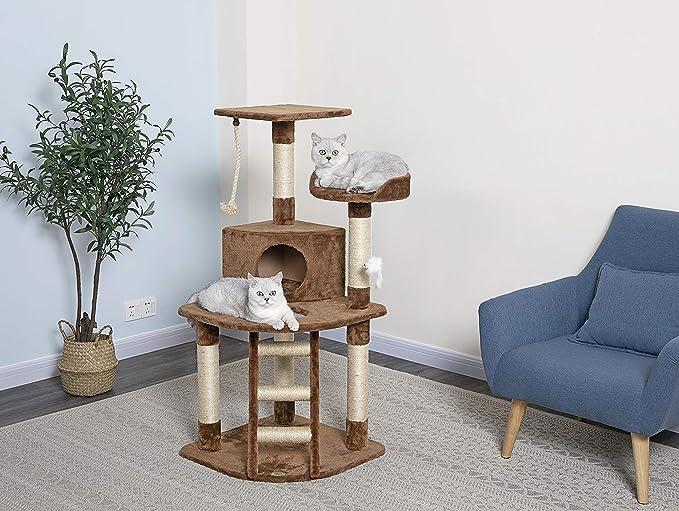Go Pet Club Cat Tree 47 5 Inch Brown Cat Tower Pet Supplies
