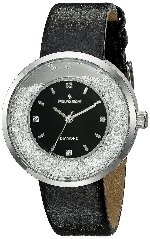 Peugeot Damen echtem Diamant Marker silber Ton Floating Kristall Armbanduhr