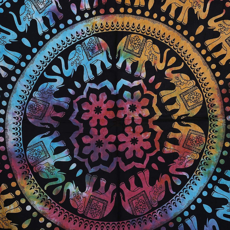 Rosa e Blu Telo Mare Chakra Mandala Roundie Boho Hippie Tovaglia da Spiaggia in Puro Cotone per Picnic e Campeggio Arazzo da Spiaggia 122 cm RAJRANG BRINGING RAJASTHAN TO YOU arazzo Tondo