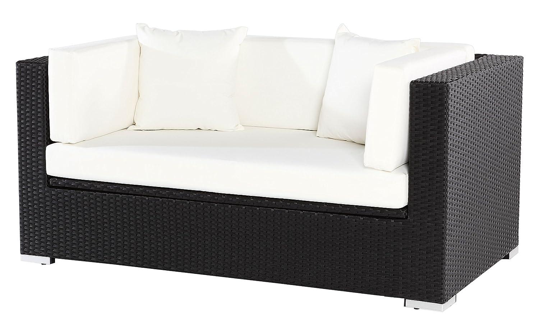OUTFLEXX Sofa aus Polyrattan mit Kissenboxfunktion inkl. Polster für 2 Pers., 152x85x70cm, schwarz