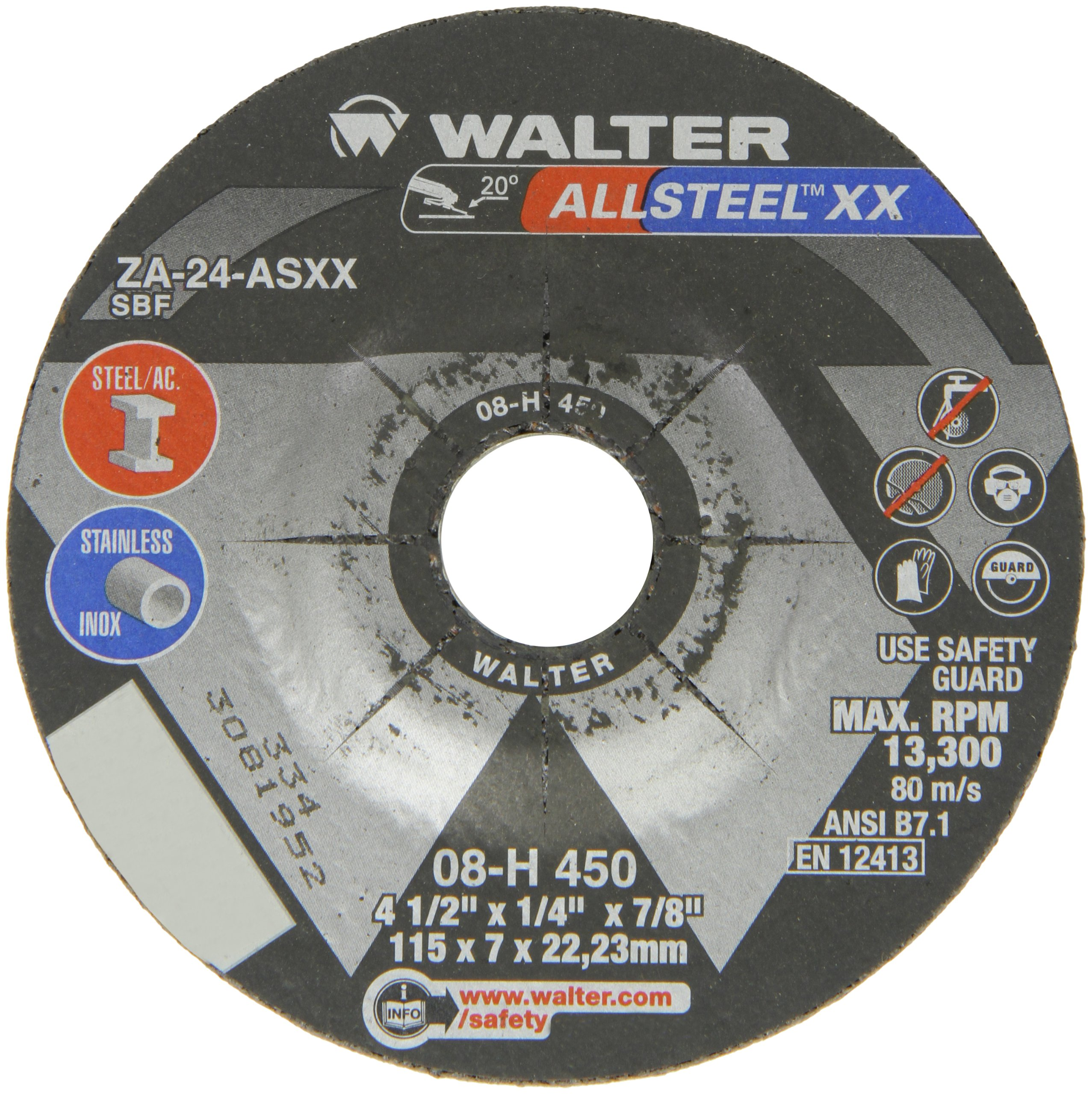 Walter Allsteel XX Exceptional Grinding Wheel, Type 27, Round Hole, Aluminum Oxide, 4-1/2'' Diameter, 1/4'' Thick, 7/8'' Arbor, Grit A-24-AXX (Pack of 25) by Walter Surface Technologies