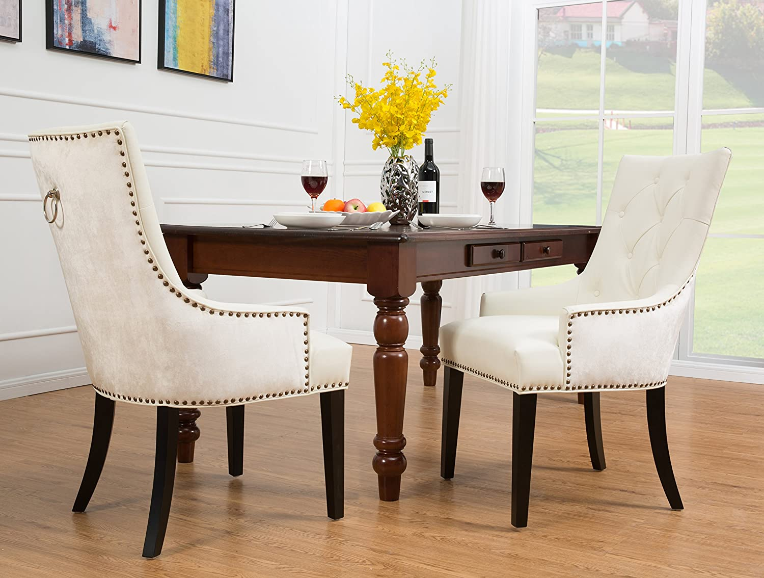 Iconic Home Cadence Dining Side Chair Button Tufted PU Leather Velvet Polished Brass Nailheads Espresso Finished Wooden Legs, White, Modern Transitional
