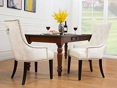 Surprising Iconic Home Cadence Dining Side Chair Button Tufted Pu Leather Velvet Polished Brass Nailheads Espresso Finished Wooden Legs White Modern Machost Co Dining Chair Design Ideas Machostcouk