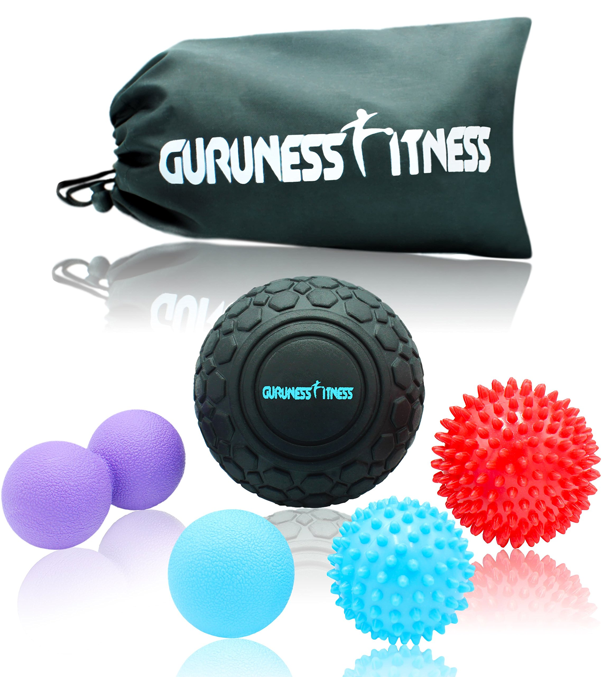 Massage Ball Set for Deep Tissue Recovery, Trigger Point Therapy, Myofascial Release, Muscle Knots, Mobility MOD, Plantar Fasciitis- 5'' Foam Roller Ball, Peanut Double Ball, Spiky Balls, Lacrosse Ball by GURUNESS FITNESS (Image #1)