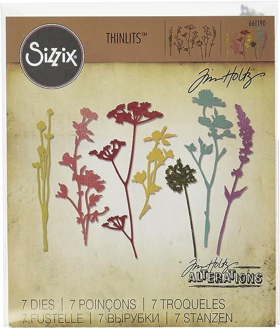 Sizzix Thinlits Die Set 1 664163 Tim Holtz 5PK Wildflower Stems Nr