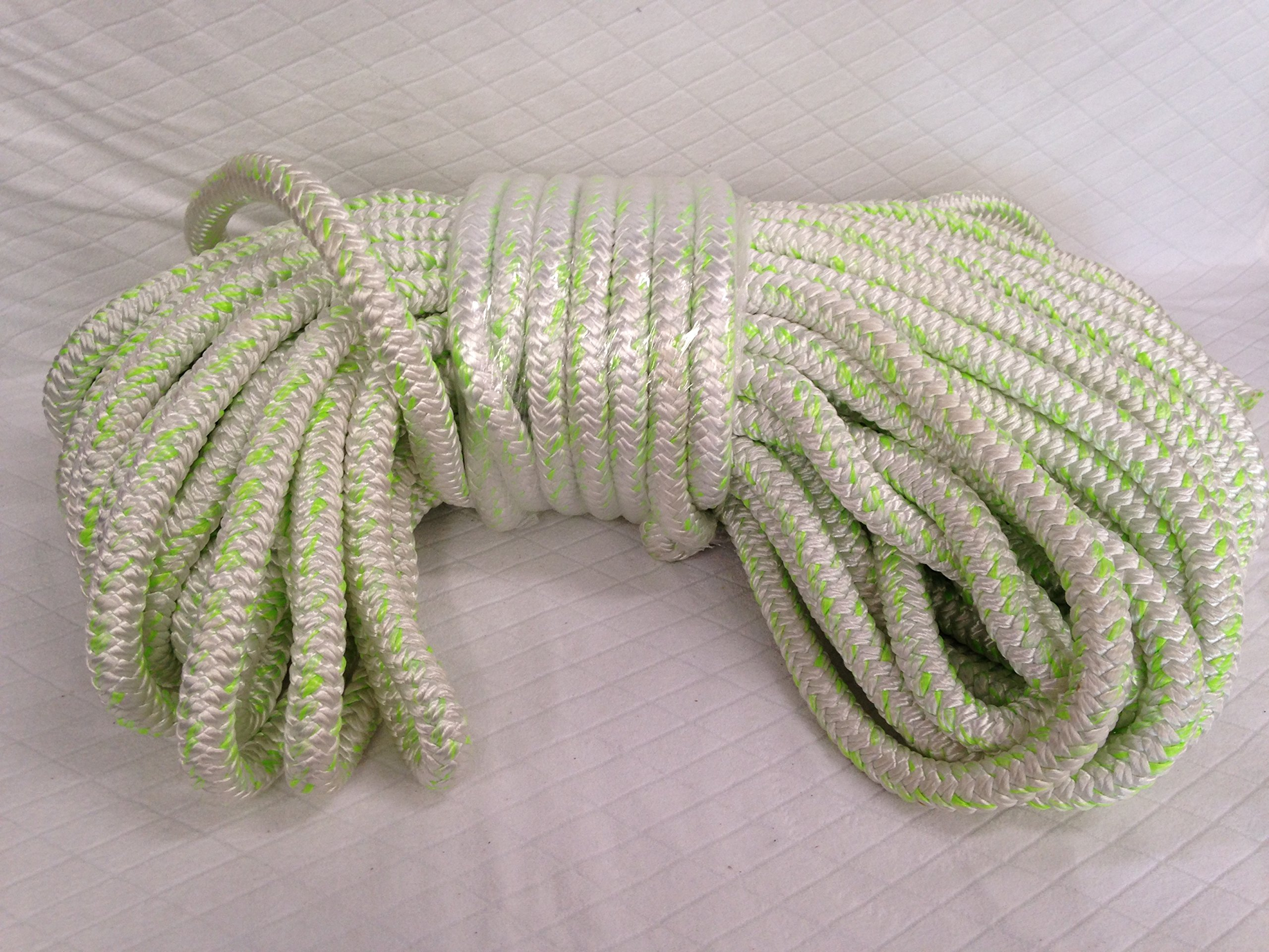 1'' x 200' 12 Carrier, 24-Strand Arborist Bull Rope, White/Green