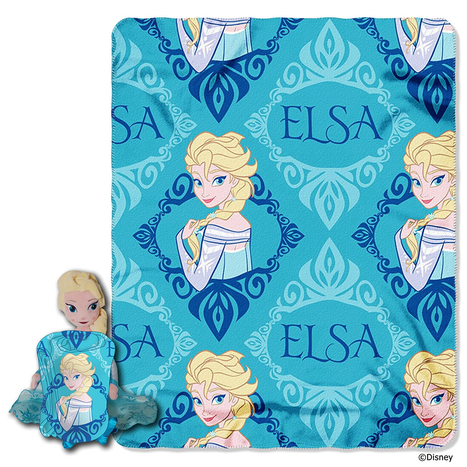 "Amazon Disney s Frozen ""Elsa"" Fleece Throw and Hugger Set"