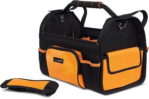 Internet s Best Open Top Tool Bag Rigid Frame Tote Tool Box 16 Pocket Hard Utility Tool Bin 17 Inch
