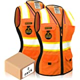 KwikSafety (Charlotte, NC) FIRST LADY 2 PACK Class 2 Fitted Safety Vest for Women High Visibility Reflective Heavy Duty…