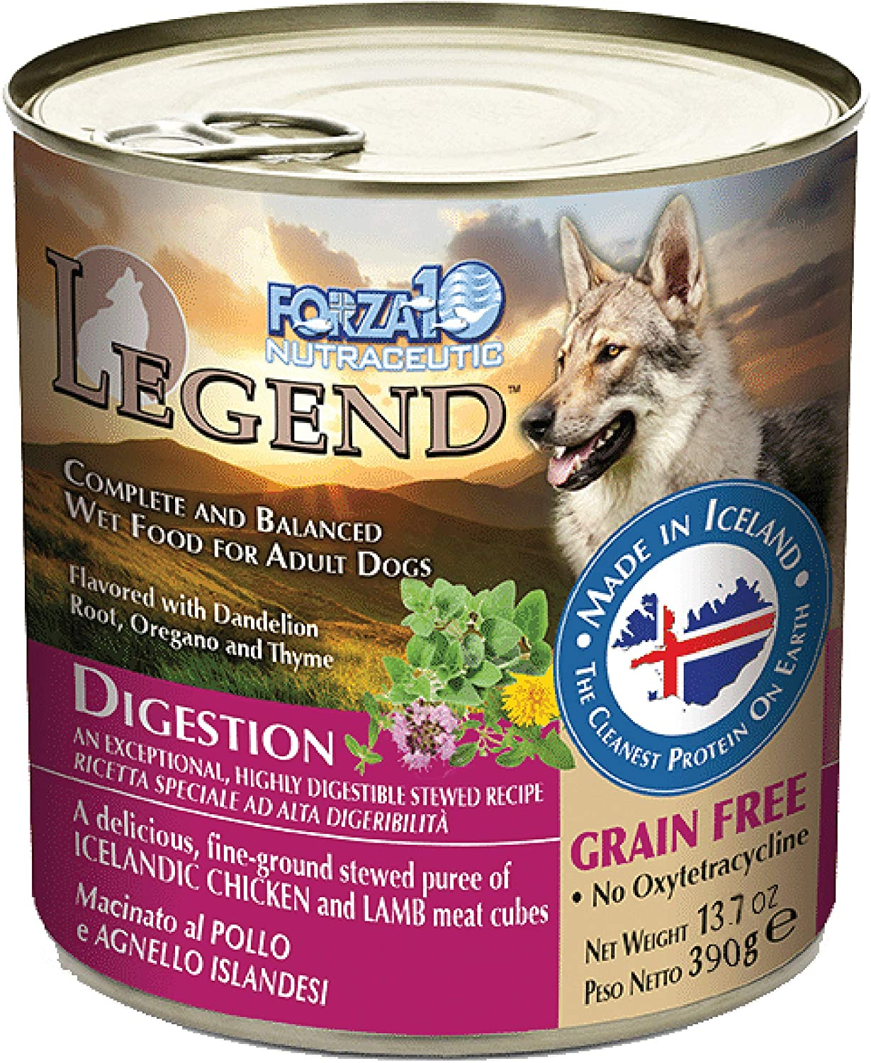 Forza10 Legend Digestion Wet Dog Food, Icelandic Chicken and Lamb Meat Cubes, Canned Grain Free Dog Food, Sensitive Stomach Dog Food, 12 Pack Case (13.7 Ounce Cans)