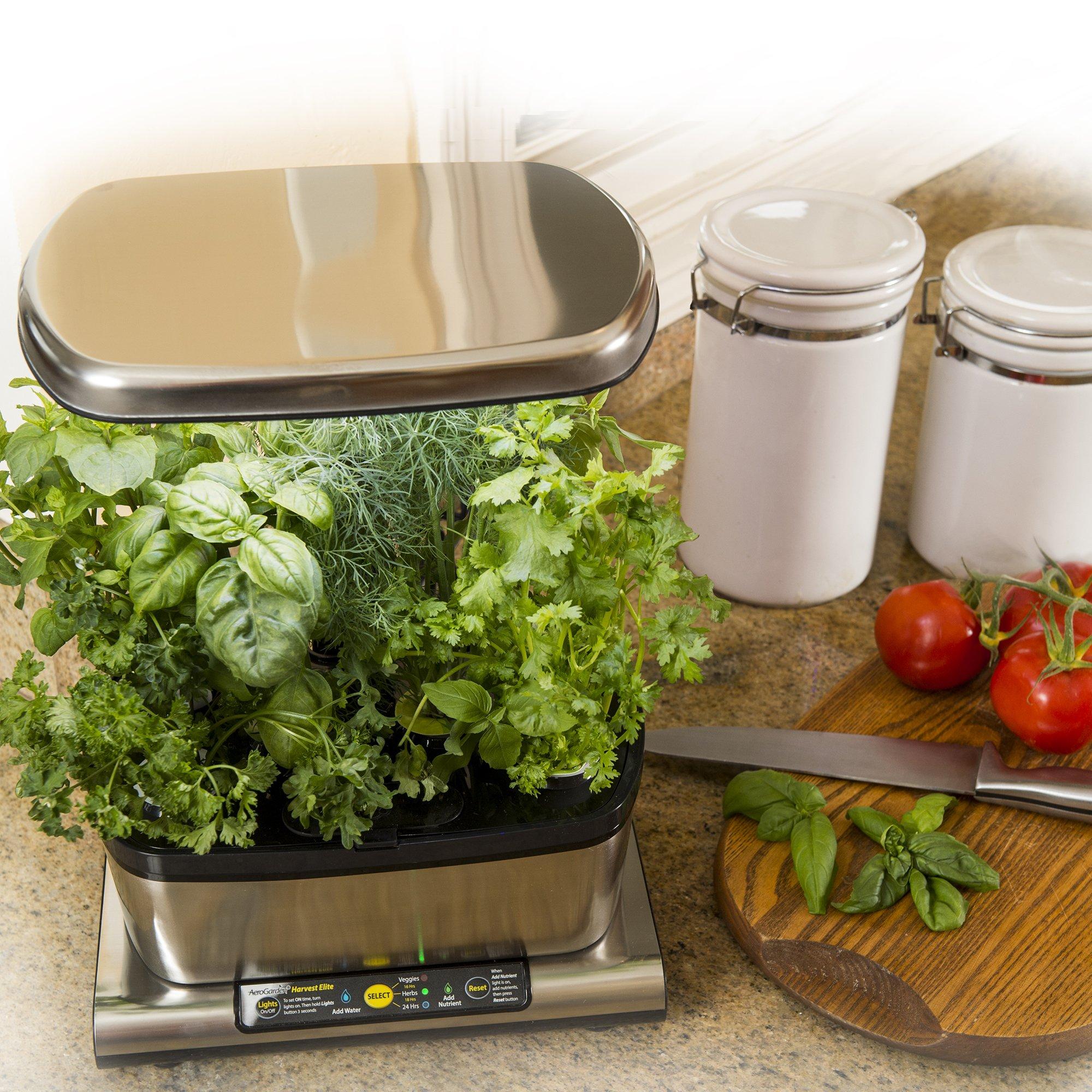 AeroGarden Harvest Elite with Gourmet Herb Seed Pod Kit, Stainless Steel by AeroGrow (Image #6)