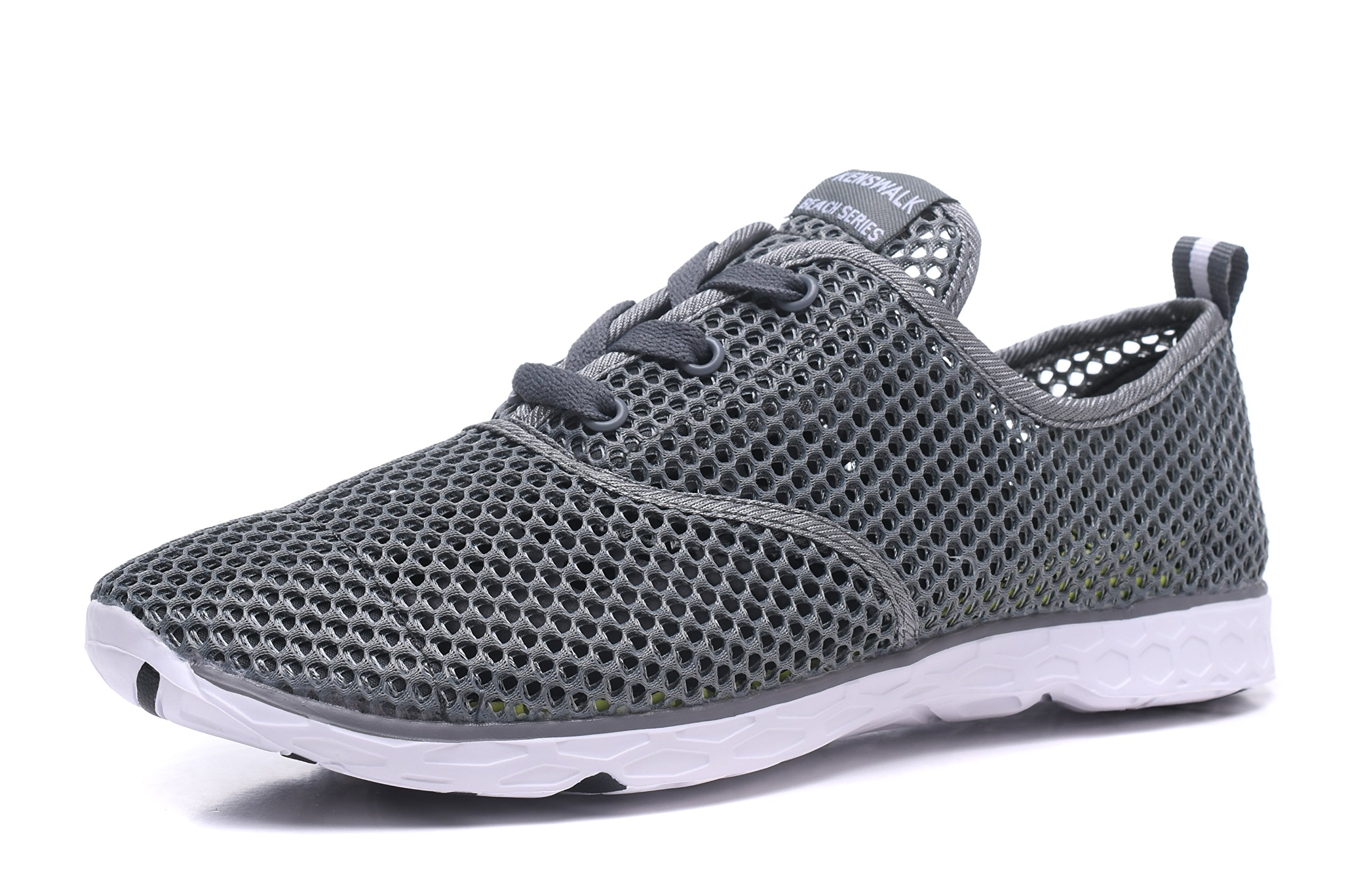 Kenswalk Men's Aqua Water Shoes Lightweight Quick Drying Beach Shoes(US 11,Deep Grey Men 2017)