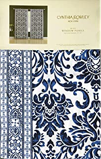 Cynthia Rowley Window Curtains Intricate Boho Style Hippie Medallion Pattern Aqua Blue Orange Rust White Set of 2 Window Panels 50 Inches by 96 Inches