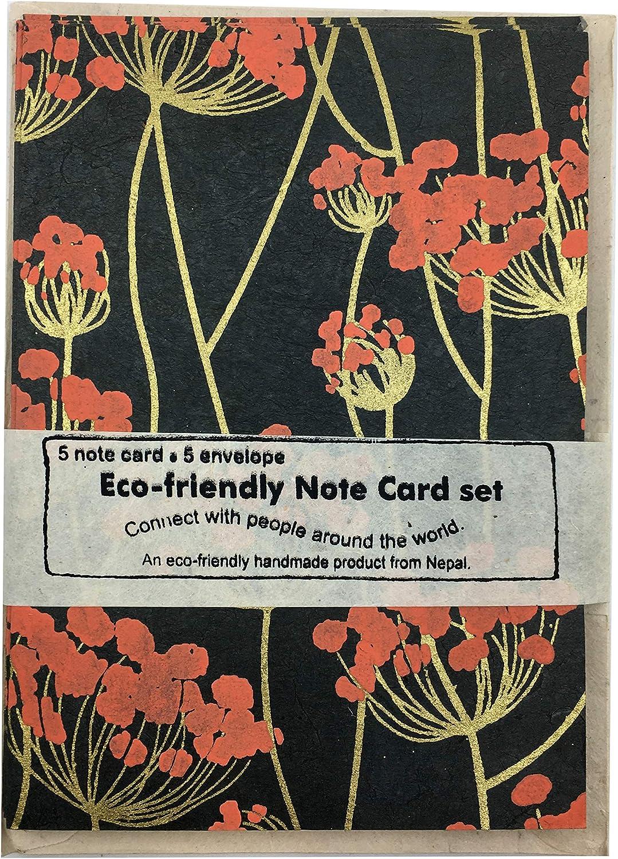Handmade Lokta Paper Blossom Notecards Nepal Greeting Card and Envelope Set