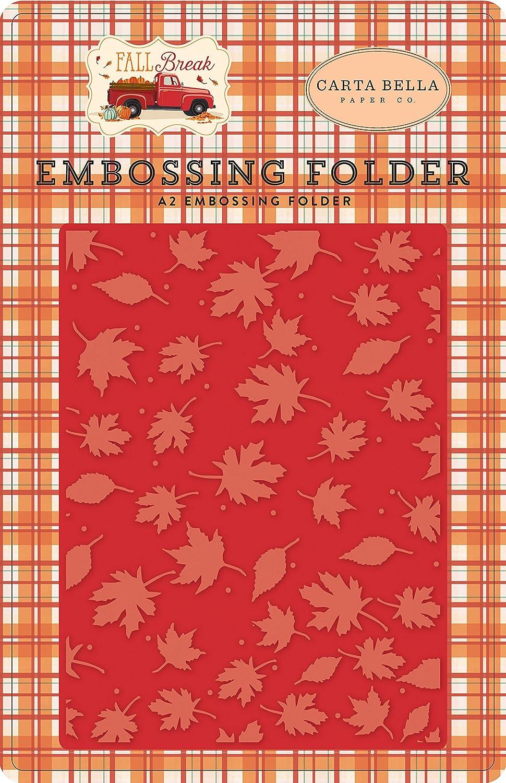 Orange Carta Bella Paper Company Whisking Leaves embossing folder Blue Red Yellow Tan Brown