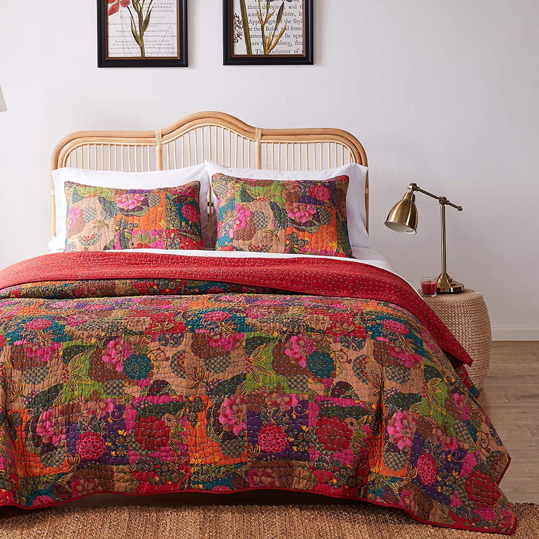 Greenland Home 3-Piece Jewel Quilt Set, Full/Queen, Multicolor