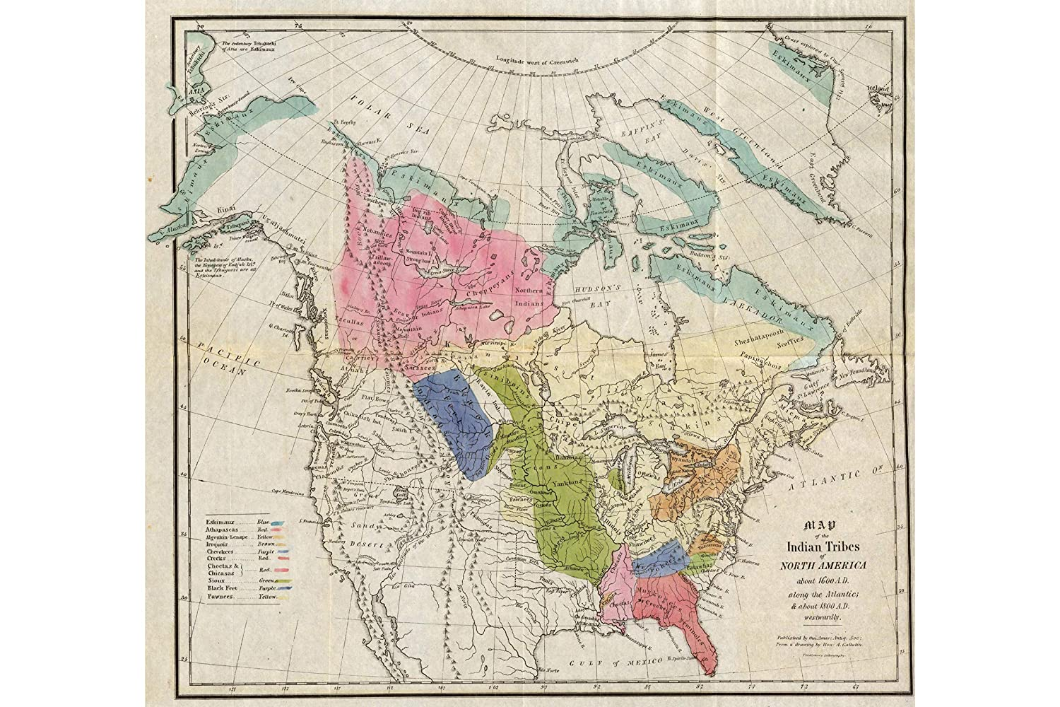History Prints First Nation & American Indian Tribes About 1600; Antique Map