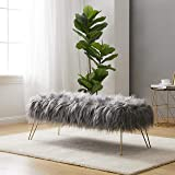 """Ornavo Home Modern Contemporary Faux Fur Long Bench Ottoman Foot Rest Stool/Seat with Gold Metal Legs - 15"""" L x 45"""" W x 15"""" H (Grey)"""