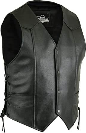 Mens Side Lace Black Cowhide Leather Vest 5XL