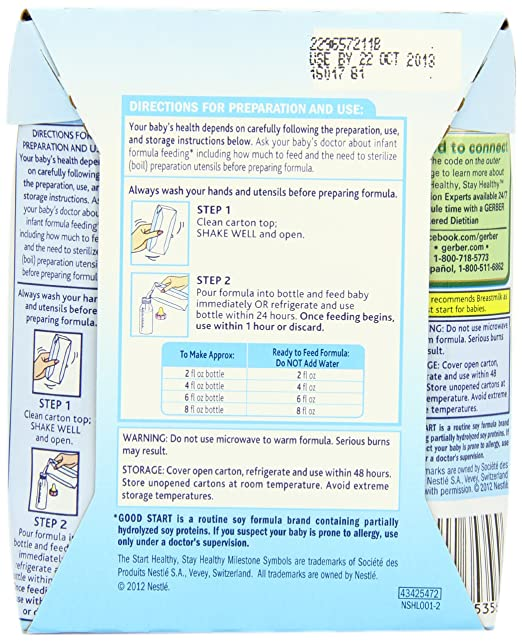 Gerber Good Start Stage 1 Soy Non Gmo Ready To Feed Infant Formula