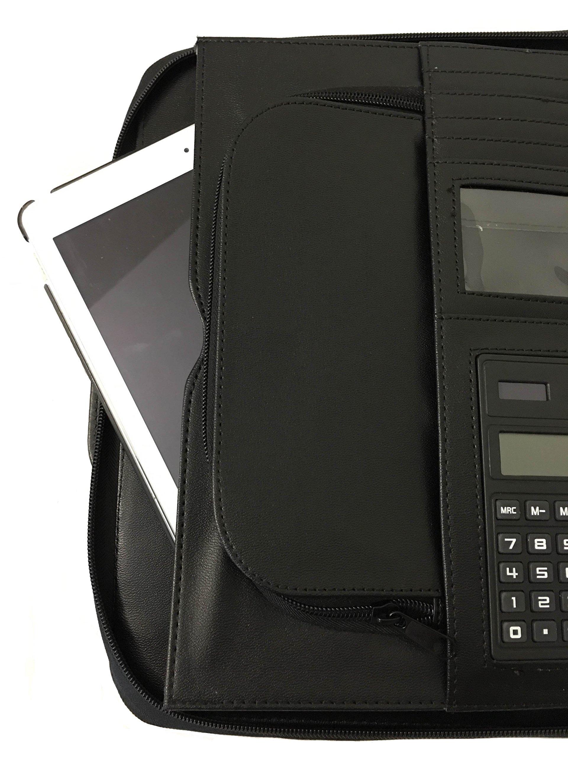 ImpecGear Briefcase Binder Portfolio, Carry Cases, Office Padfolio, School Portfolio (Black)