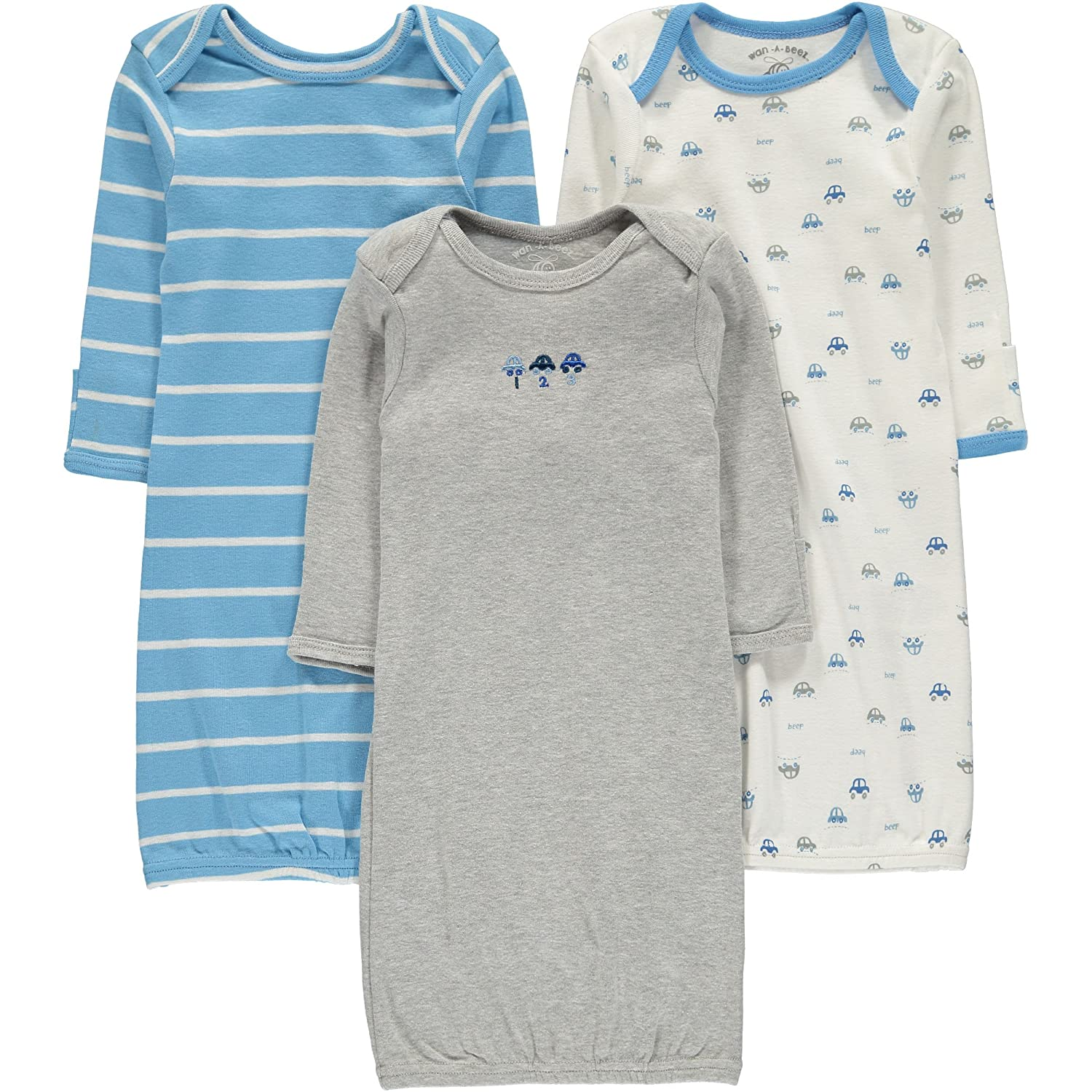 Amazon Wan A Beez Baby 3 Pack Printed Gown Grey Car Assorted