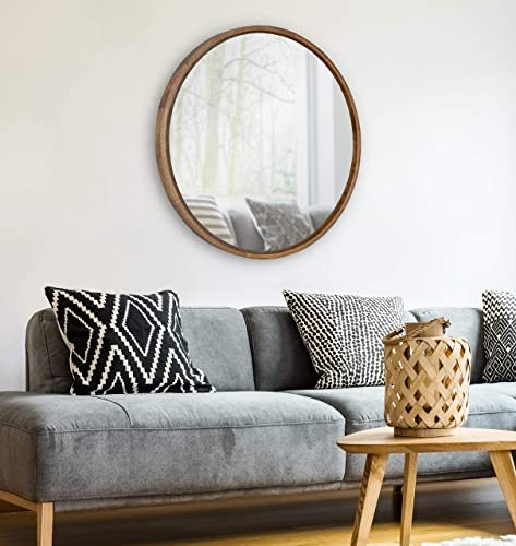 Kate and Laurel Evans Mid-Century Round Wood Framed Wall Mirror