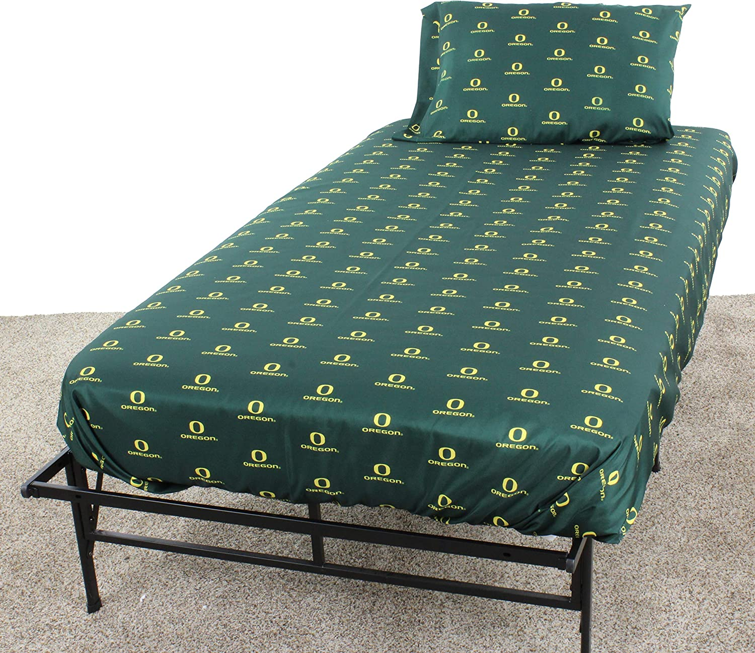 College Covers Oregon Ducks Printed Solid Sheet Set, Twin